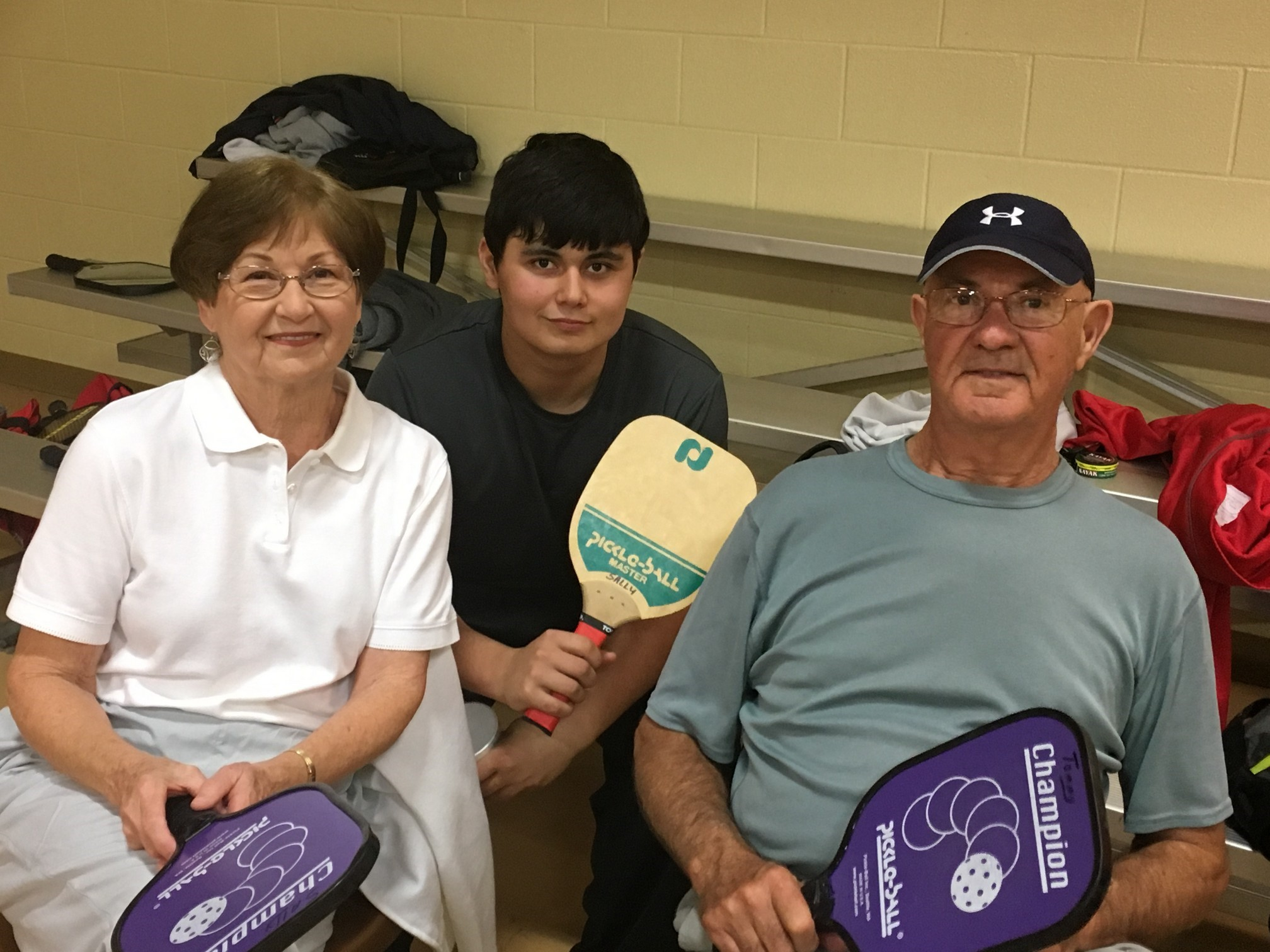 Grandparents and grandson playing pickleball in trussville, birmingham pickleball, pickleball, family pickleball, southside baptist church, southside, alabama